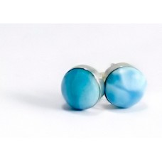 Larimar Stud Round Earrings Silver 925