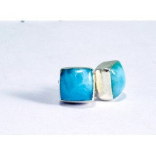 Larimar Stud Rectangular Earrings Silver 925