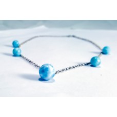 Larimar Beads Silver Necklaces