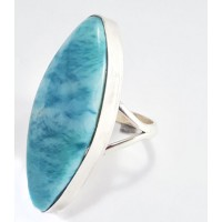 Large Larimar Silver Ring