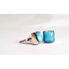 Larimar Stud Rectangular Earrings Silver 925