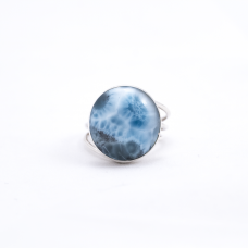 Full Moon Circle Larimar Silver Ring