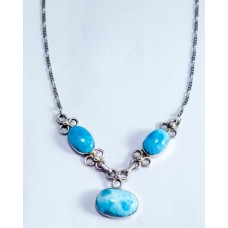 Larimar teardrops Silver Necklaces