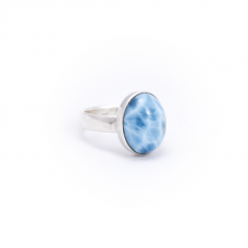 Oval Larimar Silver Ring
